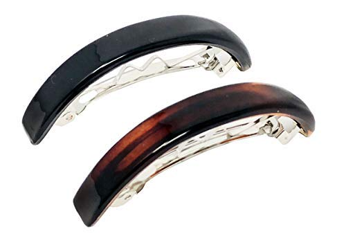 Parcelona French Arced Small Tortoise Shell and Black Curved Cellulose Hair Clip