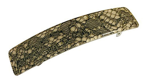 French Amie Oblong Net on Beige 3.5 Inch Handmade Strong Grip Celluloid Automatic Hair Clip Hair Barrette