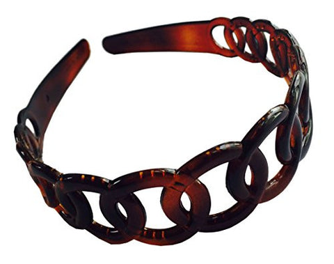 Parcelona French Round Chain Tortoise Shell Brown Celluloid Hair Headband-ebuyfashion.com-ebuyfashion.com