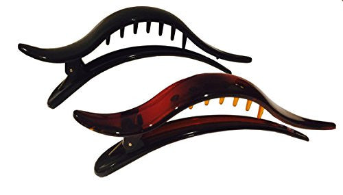 Parcelona French Brill Beak Large Black N Tortoise Side Slide Hair Clip 2 pcs-ebuyfashion.com-ebuyfashion.com
