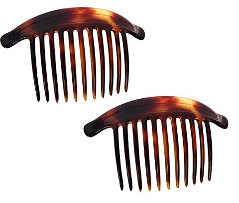 Parcelona French 11 Teeth Set of 2 Tortoise Shell Interlocking Side Hair Comb-ebuyfashion.com-ebuyfashion.com