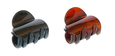 Parcelona French Duo Plain Shell And Black Celluloid Set of 2 Small Hair Claws