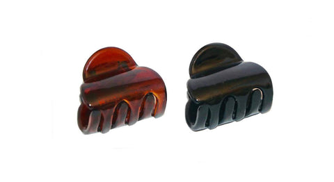 Parcelona French Duo Plain Shell And Black Celluloid Set of 2 Mini Hair Claws