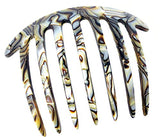 French Amie Handmade Onyx Celluloid Acetate 7 Teeth Side Hair Comb