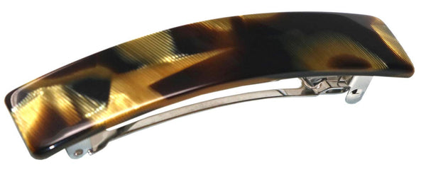 French Amie Oblong Caramel Handmade 3 1/2 Inch Celluloid Automatic Hair Barrette