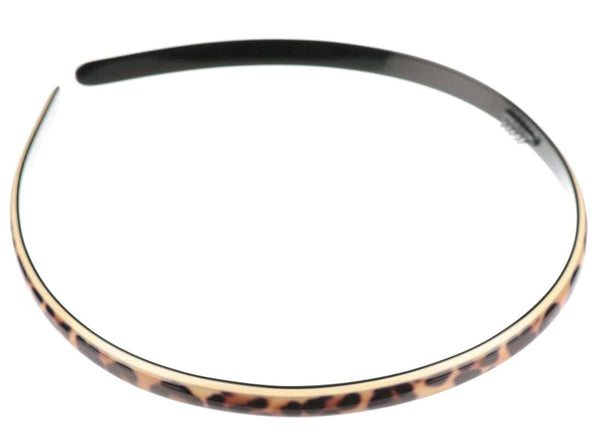French Amie Narrow Leopard Print Brown Handmade Flexible Celluloid Headband for