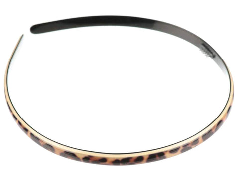 French Amie Narrow Leopard Print Brown Handmade Flexible Celluloid Headband