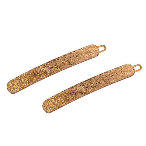 "French Amie Gold Glitter Small 2.25 "" Celluloid Acetate Set of 2 Side Slide In H"