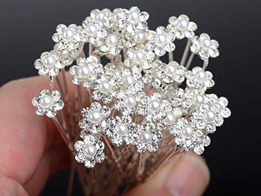 Moeni Bridal Wedding Prom Faux Small Pearl Rhinestone Crystal Flower Hair Styling U Pins