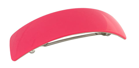 French Amie Curved Large Pink Handmade Celluloid Automatic Volume Hair Clip Barrette