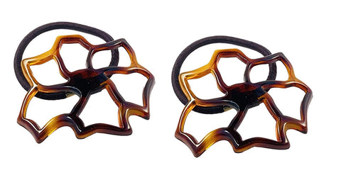"Parcelona French Floral Cut Out Tortoise Shell Brown Small 2 ½"" Celluloid Flexible Set of 2 Thin Elastic Hair Tie"