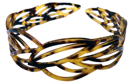 "Parcelona French Wide Leafy Design Light Shell 1 ¼"" Celluloid Hair Headband"