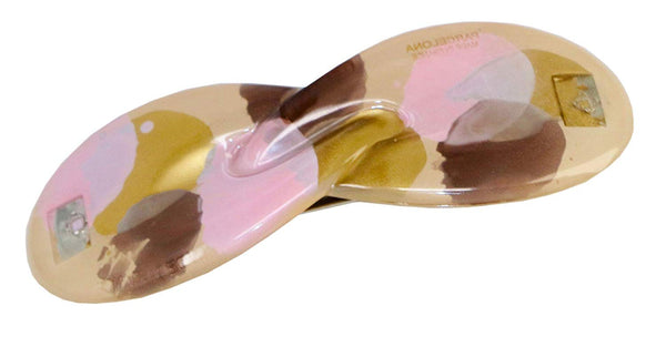 Parcelona French Hugs Pegasus Golden Pink Brown Splash Handpainted Hair Barrette