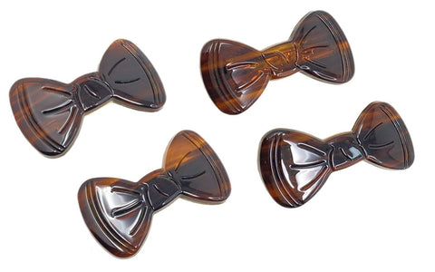 "Parcelona French Flat Bow Knot Brown Small 2"" Hair Clip Barrettes- 4pcs"