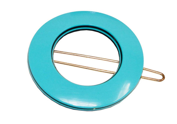 French Amie Magic Circle Blue Small Handmade Side SnapOn Hair Barrette