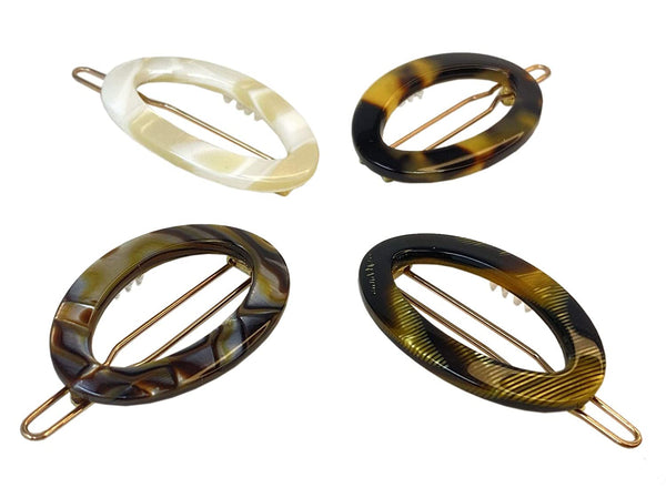 "French Amie Oval Hoop Small 1 1/4"" Handmade Set of 4 Side Slide Hair Clip Barrettes"