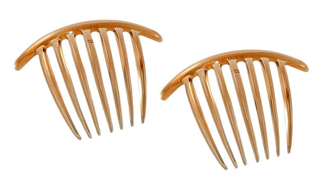 Parcelona French Scallop Edge Brown Small 9 Teeth Set of 2 Good Grip Hair Side Combs