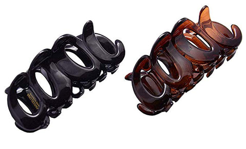 Parcelona French COOL Set of 2 Tortoise Shell Brown Black Jaw Hair Claw Clip