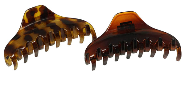 "Parcelona French Boss Thin and Narrow Light Shell and Brown 3 1/2"" Covered Spring Set of 2 Hair Claw Clips"