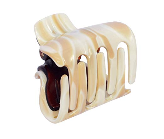French Amie Big Fat Marble Cream Off White Handmade Jaw Hair Claw Clamp