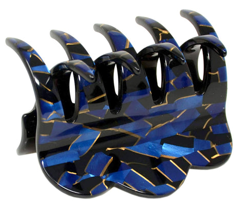 "French Amie Crown Wave Sapphire Blue Medium 3"" Handmade Interlocking Hair Claw"