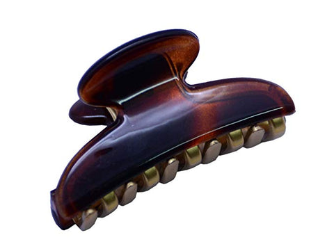 Parcelona French Metallic Matte Teeth Tortoise Shell Small Jaw Hair Claw Clip