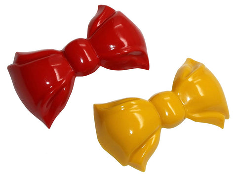 "Parcelona French Angel Bow Red and Yellow Small 2"" Celluloid Set of 2 Hair Clip"