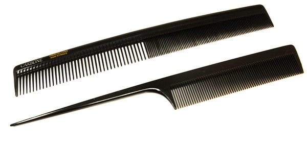 Parcelona French Pro Grooming Black Celluloid Salon Smoothing Tail Hair Combs