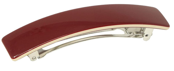 "French Amie Oblong Maroon Wine Large 3.5"" Handmade Celluloid Hair Clip Barrette"
