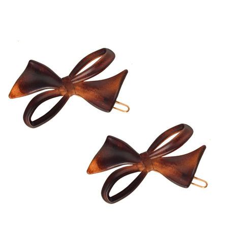 Parcelona French Bow Shell Brown Matte Finish Small Side Slide In Hair Clip Barr
