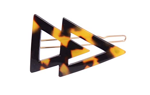 French Amie Pyramid Small Tokyo & Onyx Handmade Snap on Hair Pin Clips Barrette