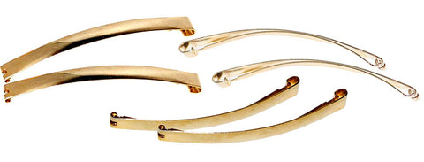 Parcelona French Fine Curve Golden Set of 6 Metal Side Slide Hair Clip Barrettes