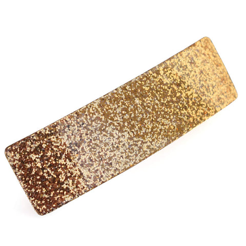 "French Amie Rectangular Golden Glitter 3.25"" Strong Celluloid Acetate Handmade A"