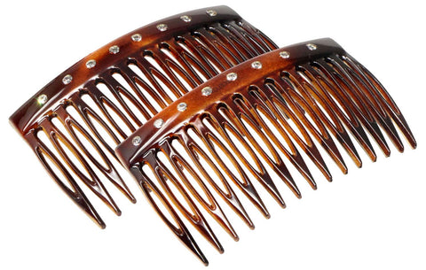 "Parcelona French Crystals Shell Small 2 ¾"" Celluloid Set of 2 Side Hair Combs"
