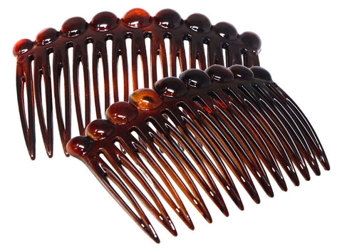 Parcelona French Circles Edge Shell Small Celluloid Set of 2 Side Hair Combs