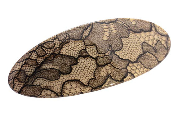 French Amie Oval Ivory Beige Net Handmade Large Strong Grip Hair Clip Barrette