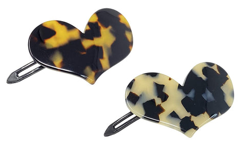 "French Amie Cupid Hearts Small 2.5"" Tokyo and White Tokyo Set of 2 Side Slide Snap Hair Clip Barrettes"