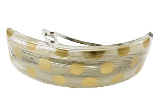 Parcelona French Curved Hand Painted Golden Polka Ivory Brown Hair Clip Barrette