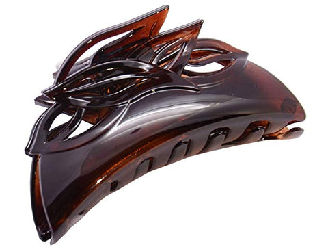 Parcelona French Leafy Medium Tortoise Shell Brown Jaw Hair Claw Clip