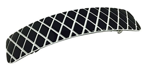 French Amie CRISSCROSS Black with White Large Handmade Hair Clip Barrette-French Amie-ebuyfashion.com