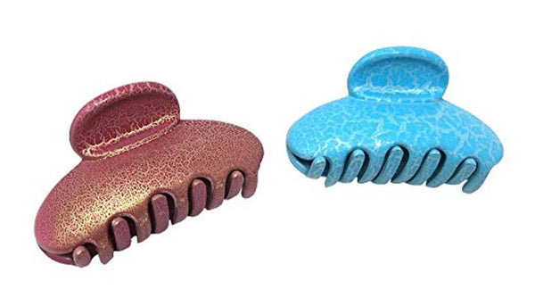 Parcelona French Clamp Matte Pink and Blue Small Crackled Pattern Claw Clips