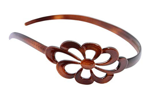 Parcelona French Wide Flower Tortoise Shell Brown Celluloid Acetate Headband