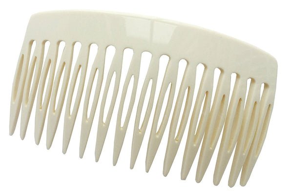 French Amie Handmade Solid Ivory Cream Celluloid Acetate 16 Teeth Side Hair Comb-French Amie-ebuyfashion.com