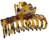 "Parcelona French Narrow Tubular Savana Light Brown Large 3 3/4"" Celluloid Good Grip Hair Claw Clip"