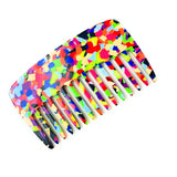 French Amie Pocket Multicolor 4 Inch Cellulose Handmade Wide Tooth Hair Comb