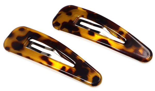 Parcelona French Clic Clac Savana Extra Large Celluloid Set of 2 Snap Hair Pins