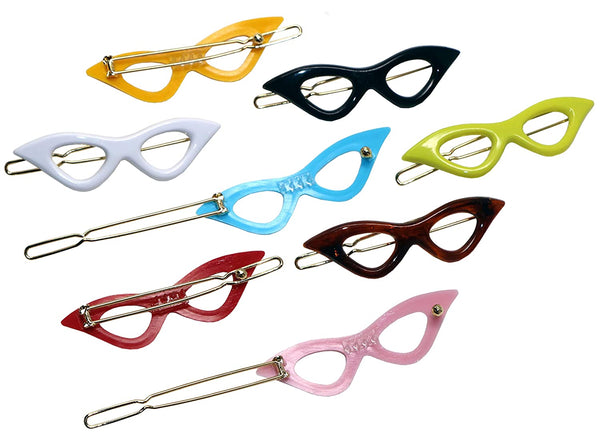 "Parcelona French Retro Glasses Small 2 1/4"" Celluloid Set of 8 Snap Barrettes"