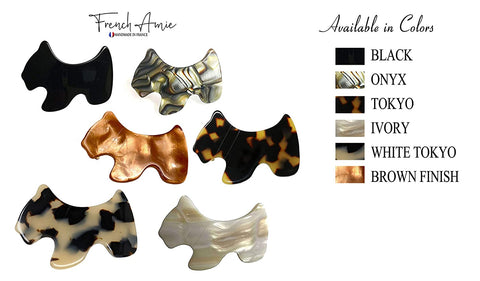 French Amie Scottish Dog Puppy Small Cream Black Pearl Brown Handmade Hair Barrette