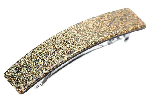 "French Amie Glittery Bar Golden Large 3.5"" Handmade Celluloid Automatic Hair Clip Barrette for Women and Girls"