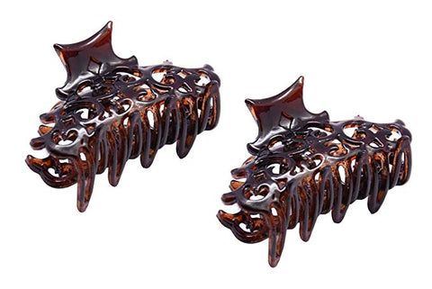 Parcelona French Beau Small Set of 2 Tortoise Shell Jaw Hair Claw Clip Clutcher Clamp